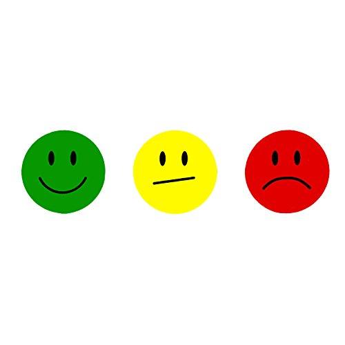 Oblique-Unique® 180 Smiley Face Sticker ø 2cm - Lächeln (Gün) - Neutral (Gelb) - Traurig (Rot) -