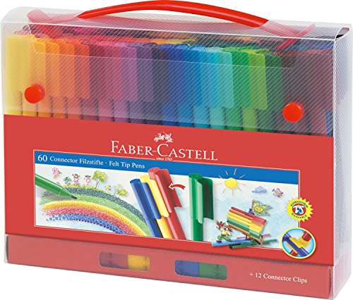 Faber-Castell Filzstift Connector in Koffer, 60-teilig