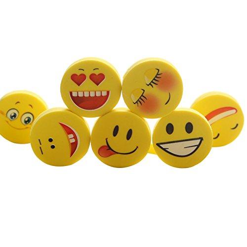 24 Stück Emoji Smiley Radiergummi Set