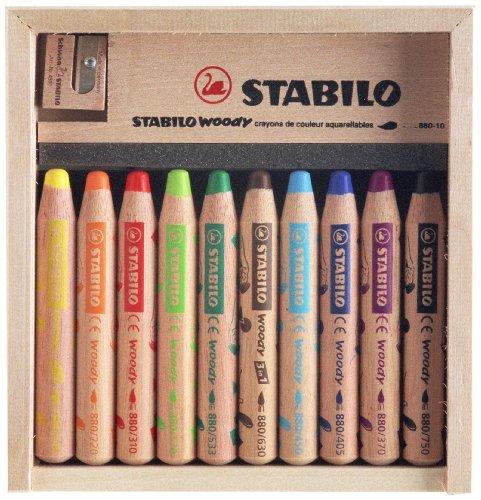 Holzkiste 10 Buntstifte 1 STABILO woody Spitzer