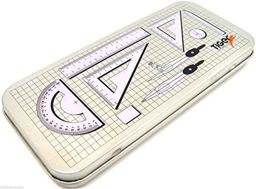 Geometrie-/Mathematik-Set, 9 TeilenMetall-Stifteetui