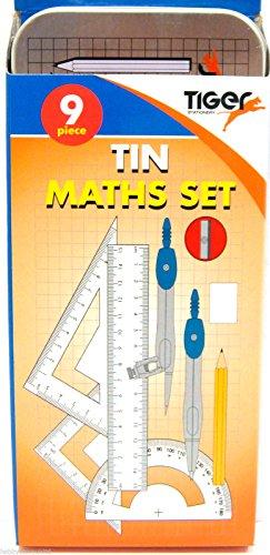 Geometrie-/Mathematik-Set Set mit 9 TeilenMetall-Stifteetui Zirkel-Set ideal für Schule & Uni -