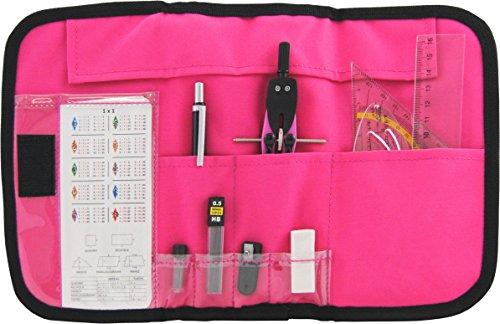 12-tlg. Zirkelset Mathematik-Set im praktischen Etui mit Klettverschluss (pink) -