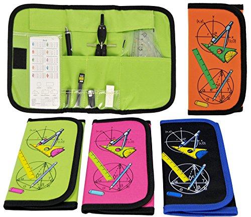12-tlg. Zirkelset Mathematik-Set im praktischen Etui mit Klettverschluss (schwarz) -