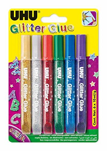 UHU Glitter Glue, original, farblich sortiert