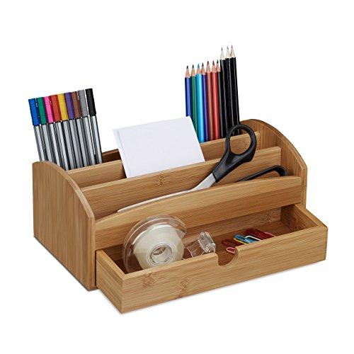 Relaxdays Schreibtischorganizer aus Bambus