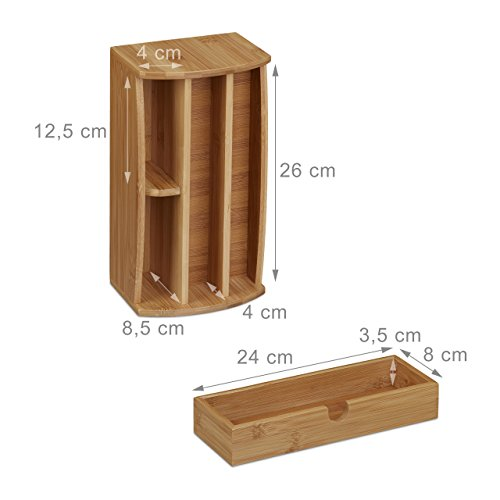 Relaxdays Schreibtischorganizer aus Bambus, Multiköcher mit 4 Fächern und Schublade, natürliche Maserung, HBT: ca. 11 x 27,5 x 15 cm, natur - 4