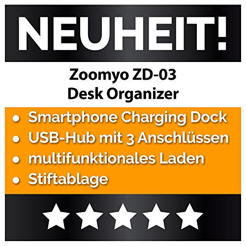 Desk Organizer Schreib-Tisch Ordnungssystem Mit 3 USB Anschlüssen Und Ladefunktion, Passend Für iPhone, Samsung u. a. Smartphones Bis 6 Zoll Von zoomyo - 3