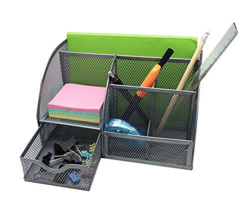EXERZ EX348 Tisch-Organizer / Schreibtisch Organisator / Schreibtisch Tidy / Stifthalter / Multifunktions -Organisator (Silber) - 3