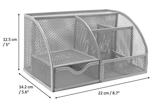 EXERZ EX348 Tisch-Organizer / Schreibtisch Organisator / Schreibtisch Tidy / Stifthalter / Multifunktions -Organisator (Silber) - 5