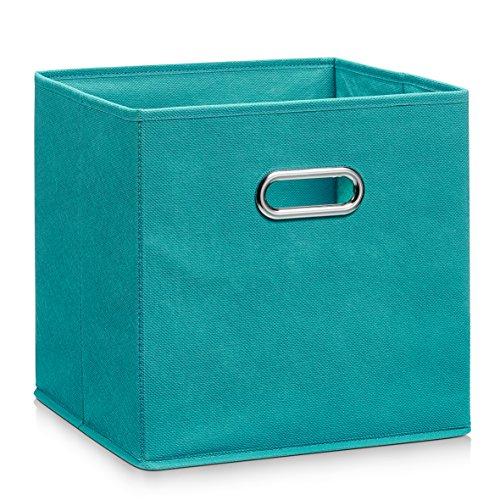 Zeller Vlies Aufbewahrungs-Box 4er Set 28 x 28 x 28 cm, farbig, faltbare Regal-Boxen Ordnungs-Boxen Regal-Korb quadratisch; 4teilig - je 1 Stück pro Farbe - 5