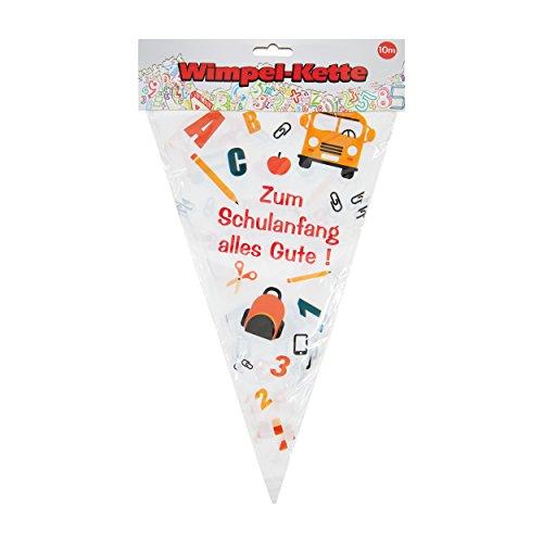 Wimpelkette Alles Gute zum Schulanfang orange/rot/weiß, ca. 10 Meter - 3