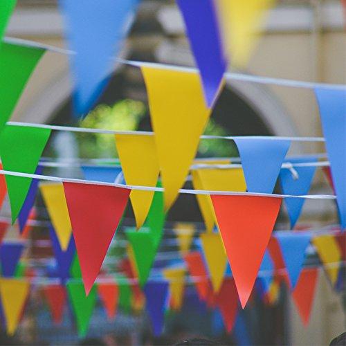 JTENG Schöne Wimpelkette Wetterfest Girlande Wimpel Mit 30 Stück Farbenfroh Wimpeln, Mehrfarbige Plastik Wimpel Fahnen ideal für Geburtstagsparty, Party Dekoration Feiern (36 Fuß) - 2