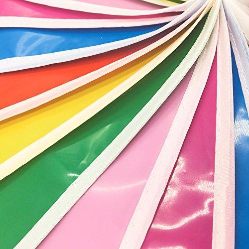 JTENG Schöne Wimpelkette Wetterfest Girlande Wimpel Mit 30 Stück Farbenfroh Wimpeln, Mehrfarbige Plastik Wimpel Fahnen ideal für Geburtstagsparty, Party Dekoration Feiern (36 Fuß) - 3
