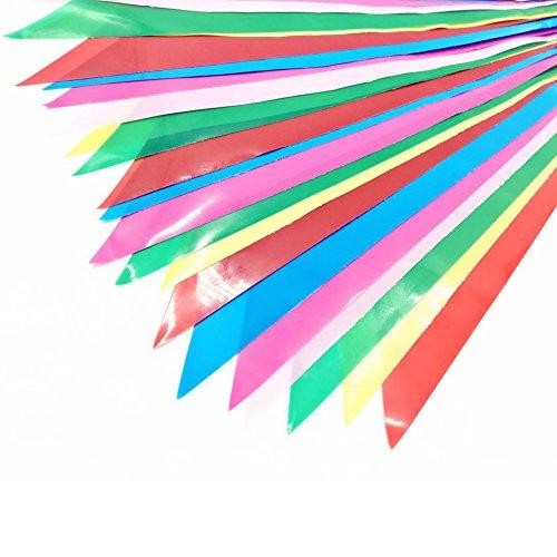 JTENG Schöne Wimpelkette Wetterfest Girlande Wimpel Mit 30 Stück Farbenfroh Wimpeln, Mehrfarbige Plastik Wimpel Fahnen ideal für Geburtstagsparty, Party Dekoration Feiern (36 Fuß) - 4