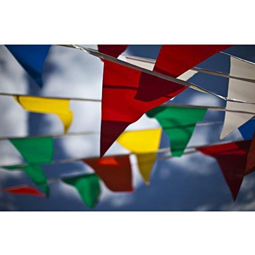 JTENG Schöne Wimpelkette Wetterfest Girlande Wimpel Mit 30 Stück Farbenfroh Wimpeln, Mehrfarbige Plastik Wimpel Fahnen ideal für Geburtstagsparty, Party Dekoration Feiern (36 Fuß) - 5
