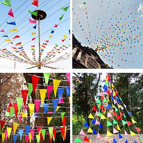 JTENG Schöne Wimpelkette Wetterfest Girlande Wimpel Mit 30 Stück Farbenfroh Wimpeln, Mehrfarbige Plastik Wimpel Fahnen ideal für Geburtstagsparty, Party Dekoration Feiern (36 Fuß) - 6