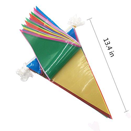 JTENG Schöne Wimpelkette Wetterfest Girlande Wimpel Mit 30 Stück Farbenfroh Wimpeln, Mehrfarbige Plastik Wimpel Fahnen ideal für Geburtstagsparty, Party Dekoration Feiern (36 Fuß) - 7