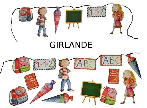 3m Girlande Schulanfang - Kinder Party Schuleinführung Schule Schulbeginn Fest Dekoration Schultüten - 2