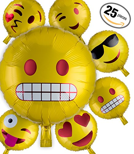 Emoji Party Ballons 25 Pack