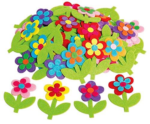 50 Blumen Streuteile Deko aus Filz mit Stiel VBS Großhandelspackung