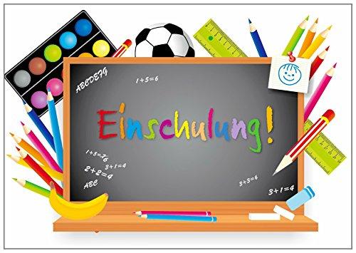 Farbenfrohes Einladungskarten-Set für den Schulanfang