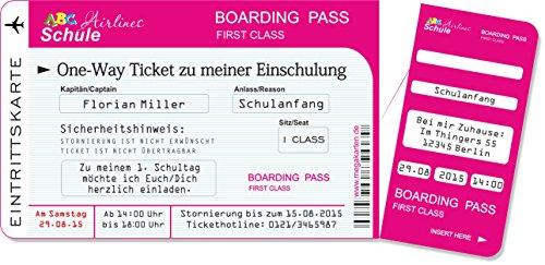 Einladungskarten Einschulung als Flugticket mit Abriss-Coupon, pink 10 Stück - 3