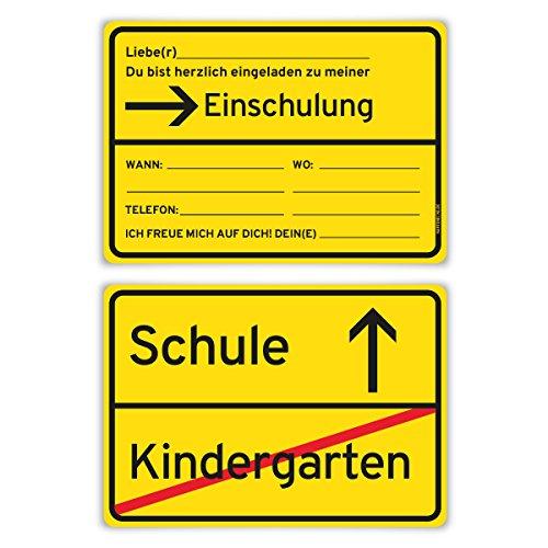 Einladungskarten Ortsschild Schulanfang