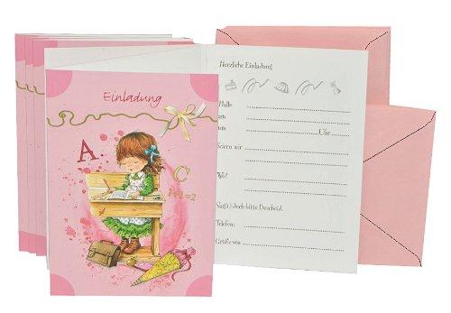 10 tlg. Set Einladungskarten + Umschlag - Mädchen Schulanfang Einladung Karte Schuleinführung Schule Party - 2