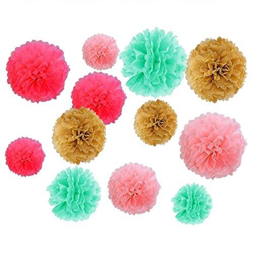 Geburtstag Dekoration, Birthday Girlande Set, 12 Seiden Papier Blumen PomPoms und 20 Quaste Girlande, 2 Dot Papier Girlande für Partei Dekorationen,Kindergeburtstag Deko - 4