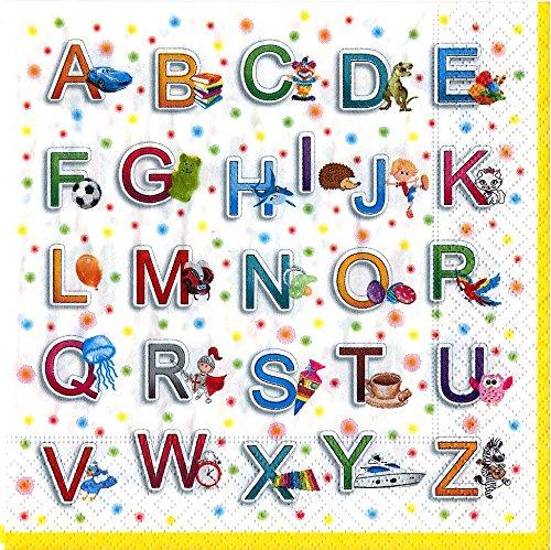 20 Servietten Buntes Alphabet / 33x33cm