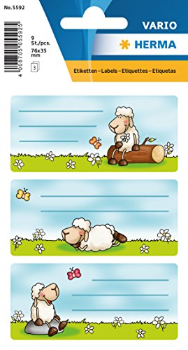 Namens-Heftetiketten für die Schule, Motiv Schafe