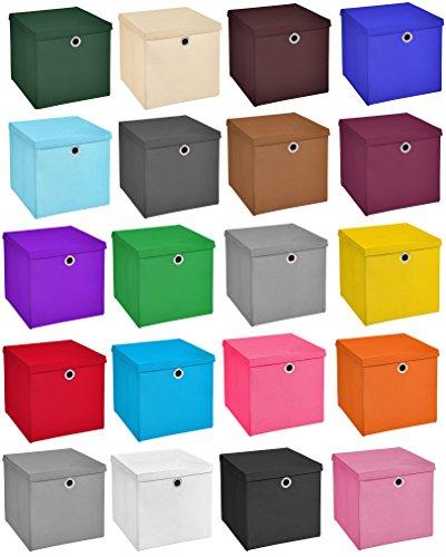 4er Set Schwarz Faltbox 28 x 28 x 28 cm faltbar mit Deckel
