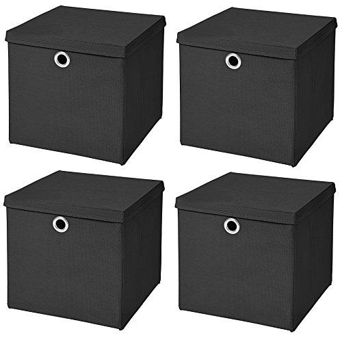 4er Set Schwarz Faltbox 28 x 28 x 28 cm Aufbewahrungsbox faltbar mit Deckel - 2