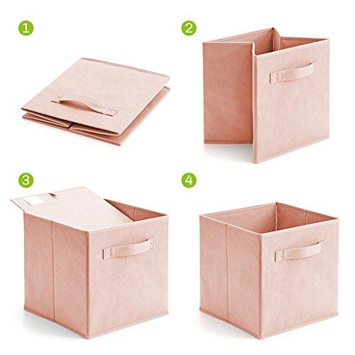 Aufbewahrungsbox, EZOWare 6er-Set Aufbewahrungskiste ohne Deckel - Pale Dogwood - 6