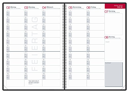 OXFORD 400106347 Lehrerkalender Kalendarium 2018/2019 Format DIN A4 Spiralbuch Ringblock in dunkelblau Planer für Lehrer - 2