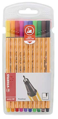 Fineliner STABILO point 88 - 10er Pack - 10 Standardfarben