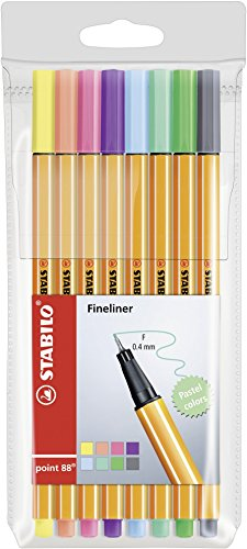 Fineliner STABILO point 88 - 8er Etui - Pastellfarben