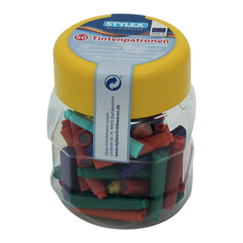 Stylex Tintenpatronen farbig, Kunstoffbox, 50 Stück