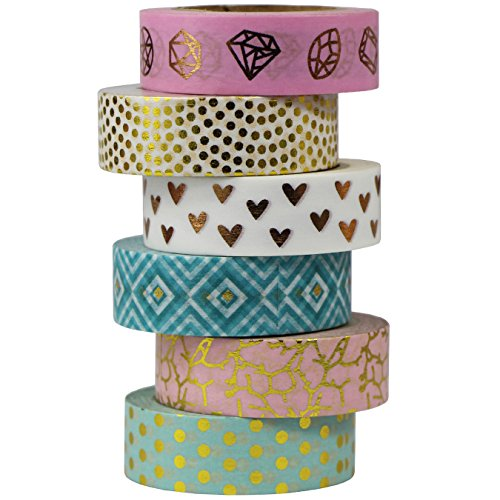 6 Rollen Washi Tape bunt 10m x 15mm