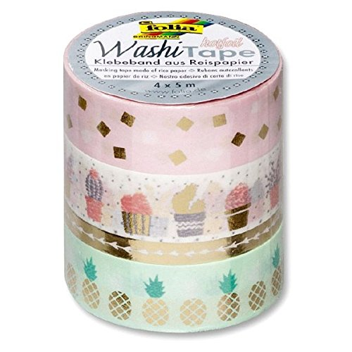 folia Deko-Klebeband Washi-Tape HOTFOIL GOLD, 4er Set