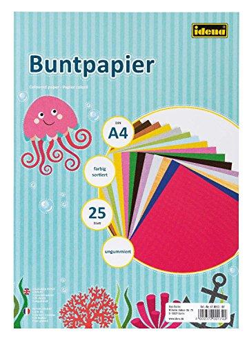 Idena Buntpapier DIN A4, 25 Blatt, ungummiert