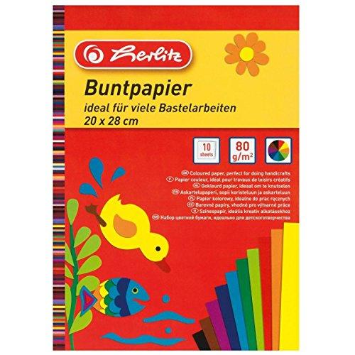5 Blöcke Buntpapier / 50 Blatt / 20x28cm / 10 Farben