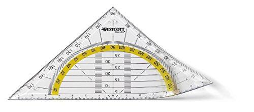 Westcott Geodreieck Kunststoff bruchsicher, 14 cm