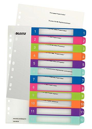 Leitz WOW Zahlen Plastikregister (1-12, A4, 12 Blatt)