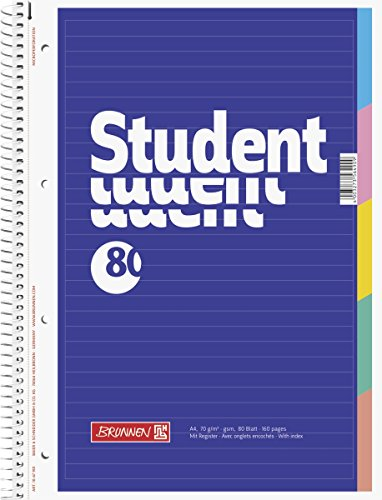 Brunnen Collegeblock Student mit Register, A4, liniert