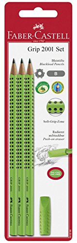 Faber-Castell Grip 2001 Set, 3 Bleistifte + Eraser Cap