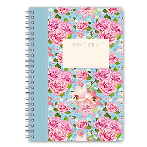 "LifeDesign Notizbuch A5 Notizheft Spiralbuch ""Rose"" 120 Seiten creme liniert Softcover FSC"