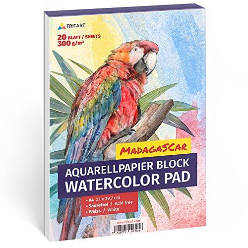 Aquarellpapier 300g, Din A4, Weiß, 20 Blatt | Aquarellblock von Tritart