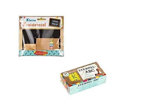 Einschulungsset Kleine Kreidetafel + ABC-Stempel-Set